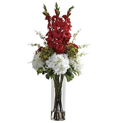 Nearly Natural 1337-RD Giant Mixed Floral Arrangements, Red
