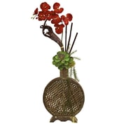 Nearly Natural 1338 Orchid and Succulent Floral Arrangements, Red