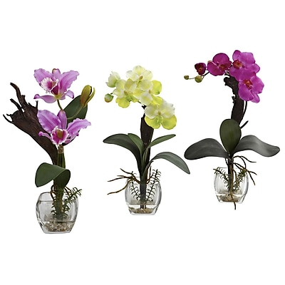 Nearly Natural 1339-A1-S3 Mixed Orchid Set of 3 Floral Arrangements, Assorted