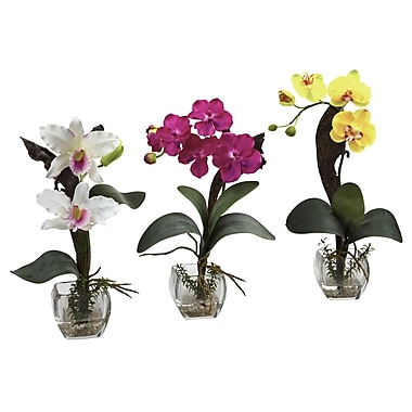 Nearly Natural 1339-A3-S3 Mixed Orchid Set of 3 Floral Arrangements, Assorted