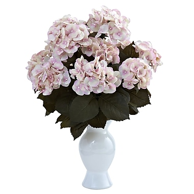 Nearly Natural 1346-CP Hydrangea with Vase Floral Arrangements, Cream pink