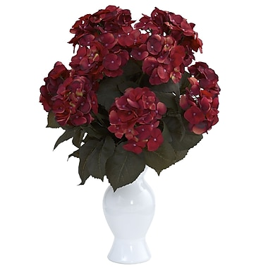 Nearly Natural 1346-RU Hydrangea with Vase Floral Arrangements, Rust