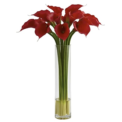 Nearly Natural 1347 Red Calla Lily Cylinder Vase Floral Arrangements, Red