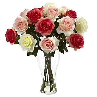 Nearly Natural 1348 Blooming Roses Floral Arrangements