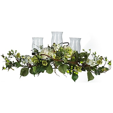 Nearly Natural 4634 Hydrangea Triple Candelabrums, Cream/Green
