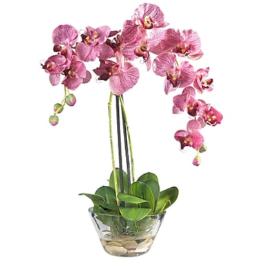 Nearly Natural 4643-PR Phalaenopsis Silk Floral Arrangements, Purple