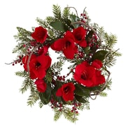 """Nearly Natural 4811 24"""" Amaryllis Wreath, Red"""