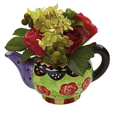 Nearly Natural 4817 Rose and Hydrangea Floral Arrangements, Red