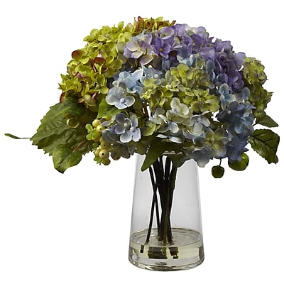 Nearly Natural 4935 Hydrangea Floral Arrangements, Purple