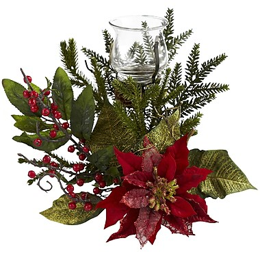 Nearly Natural 4951 Poinsettia Silk Candelabrums, Red