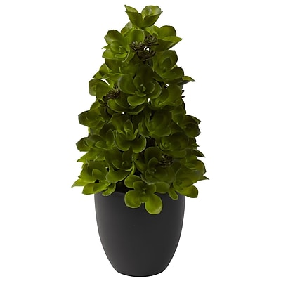 Nearly Natural 4964 Echeveria Cone Topiary Plant in Pot
