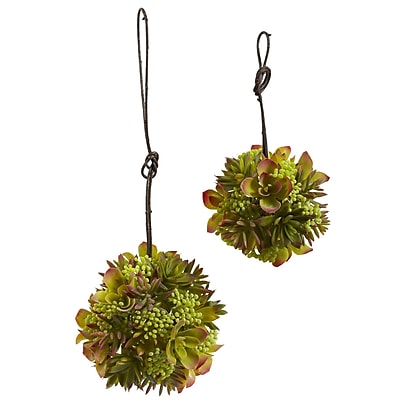 Nearly Natural 4968-S2 Mixed Succulent Spheres set of 2