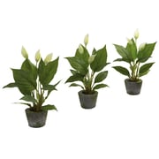 Nearly Natural 4974 Spathyfillum Set of 3 Plant in Planter