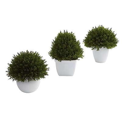 Nearly Natural 4977 Mixed Cedar Topiary Set of 3 Desk Top Plant in Decorative Vase