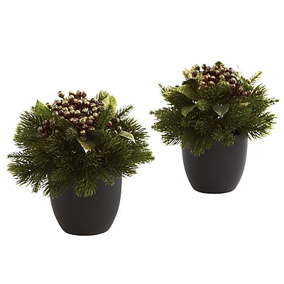 Nearly Natural 4981 Pine and Berries Set of 2 Plant in Pot