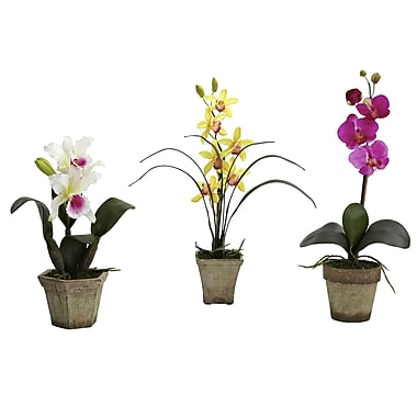 Nearly Natural 4985-A1-S3 Potted Orchid Mix Set of 3 Floral Arrangements, Assorted