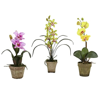 Nearly Natural 4985-A2-S3 Potted Orchid Mix Set of 3 Floral Arrangements, Assorted