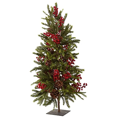 Nearly Natural 5350 Pine and Berry Christmas Tree with Stand