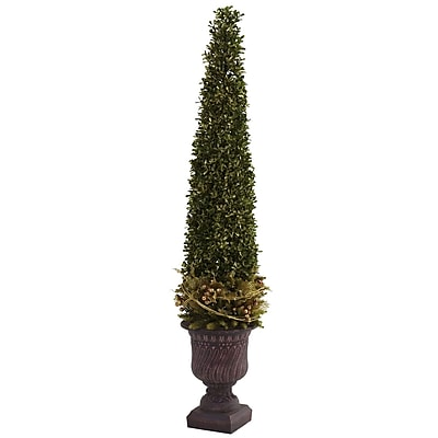 Nearly Natural 5368 Mixed Golden Boxwood Topiary Floor Plant in Decorative Vase