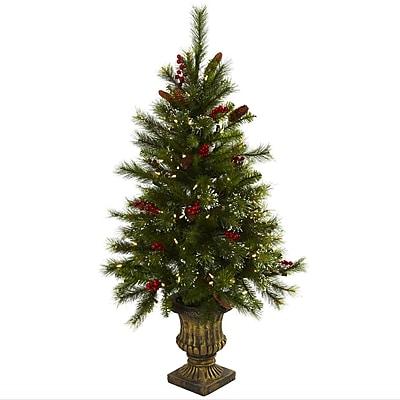 Nearly Natural 5371 4' Xmas Tree Floor Plant in Decorative Vase