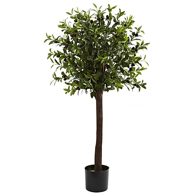 Nearly Natural 5411 4' Olive Topiary Silk Tree in Pot