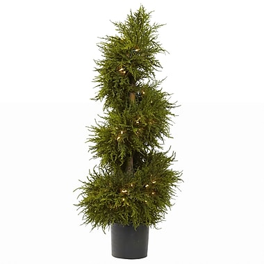 Nearly Natural 5915 Cedar Spiral Topiary Lighted in Pot
