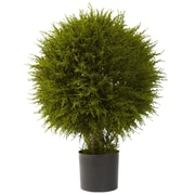 "Nearly Natural 5918 32"" Cedar Ball Topiary Plant in Pot"