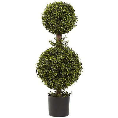 """Nearly Natural 5920 35"""" Double Boxwood Topiary Plant in Pot"""