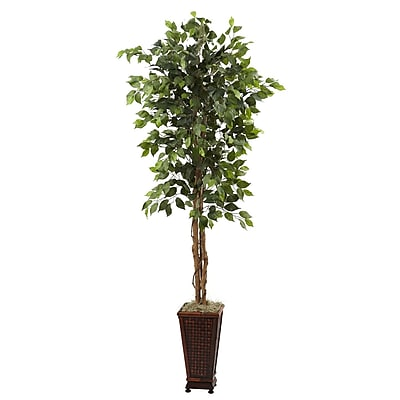 Nearly Natural 5925 Ficus Plant in Planter