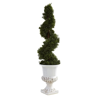Nearly Natural 5932 Cedar Spiral Floor Plant in Decorative Vase