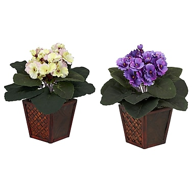 Nearly Natural 6685 African Violet Set of 2 Plant in Pot