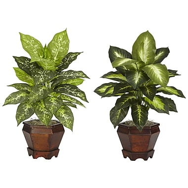 Nearly Natural 6712 Dieffenbachia Set of 2 Plant in Pot