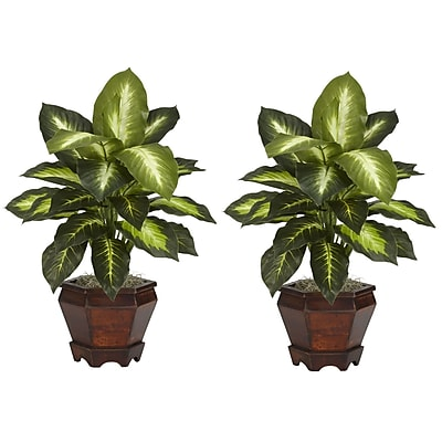 Nearly Natural 6712-GD-S2 Dieffenbachia Set of 2 Plant in Pot, Golden