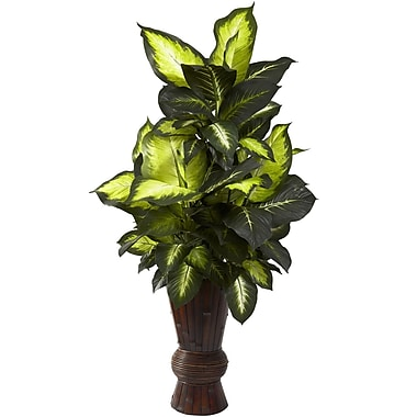 Nearly Natural 6724 Dieffenbachia and Bamboo Floor Plant in Decorative Vase