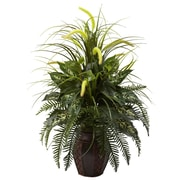 Nearly Natural 6727 Mixed Greens Floor Plant in Decorative Vase