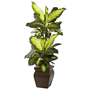Nearly Natural 6731 Golden Dieffenbachia Plant in Planter