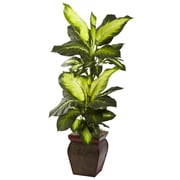 Nearly Natural 6731 Golden Dieffenbachia Plant in Planter