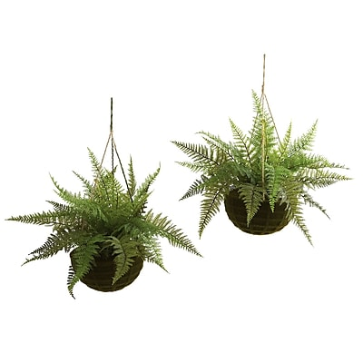 Nearly Natural 6743 Leather Fern Set of 2 Hanging Plant in Basket