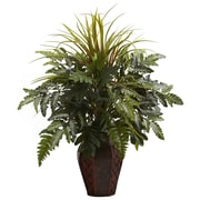 Nearly Natural 6754 Mixed Grass Fern Plant in Planter
