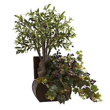 Nearly Natural 6771 Olive Tree and Grape Leaf Floor Plant in Decorative Vase