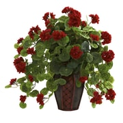 Nearly Natural 6777 Geranium Plant in Planter