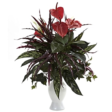 Nearly Natural 6779 Anthurium Desk Top Plant in Decorative Vase
