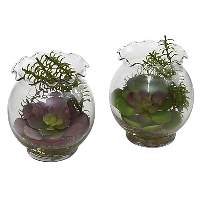Nearly Natural 6781 Succulent Floor Plant in Decorative Vase