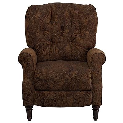 Flash Furniture Traditional Paisley Fabric Tufted Hi-Leg Recliner, Tobacco