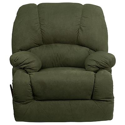 Flash Furniture Contemporary Glacier Microfiber Chaise Rocker Recliner, Olive