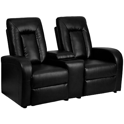 Flash Furniture Leather 2-Seat Home Theater Recliner with Storage Console, Black