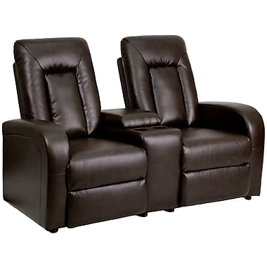 Flash Furniture Leather 2-Seat Home Theater Recliner With Storage Console Brown  sc 1 st  Staples & Flash Furniture Leather 2-Seat Home Theater Recliner With Storage ... islam-shia.org