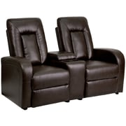 Flash Furniture Leather 2-Seat Home Theater Recliner With Storage Console, Brown