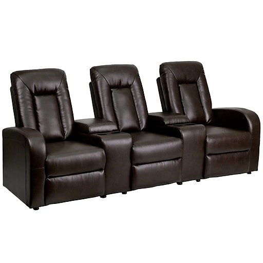 Flash Furniture Leather 3 Seat Home Theater Recliner With Storage Consoles Brown Https Www Staples 3p S7 Is