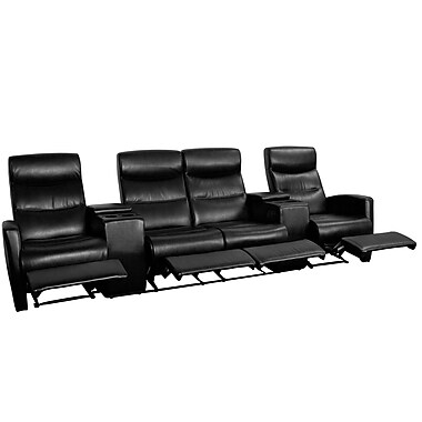 Flash Furniture Leather 4-Seat Home Theater Recliner With Storage Consoles, Black